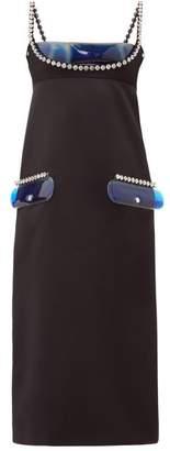 Christopher Kane Crystal And Gel-filled Pvc-panel Satin Dress - Womens - Black