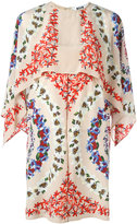 MSGM floral print cape dress - women - Silk - 42