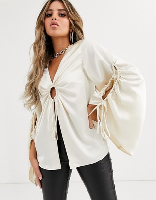 Significant Other dusk blouse with flare sleeves