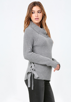 Bebe Ribbed Cowl Neck Sweater