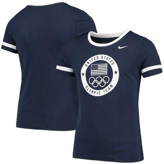 Nike Girls Youth Navy/White Team USA Fan Ringer T-Shirt