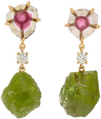Jan Leslie 18K Bespoke 2-Tier Tribal Luxury Earrings w/ Pink Tourmaline, Large Peridot & Diamonds