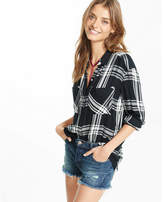 Express Mid Rise Distressed Button Fly Denim Cutoff Shorts