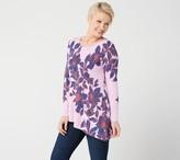 Isaac Mizrahi Live! Floral Printed Asymmetric Hem Peplum Sweater
