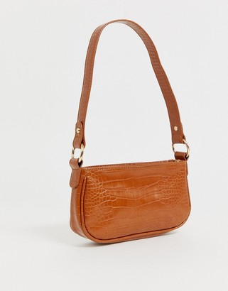 Asos Design DESIGN croc effect 90s shoulder bag