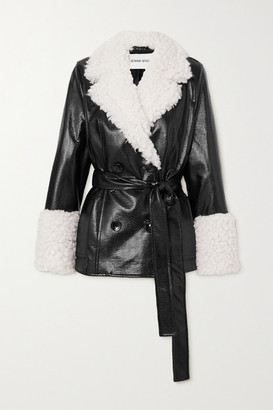 Stand Studio Harmony Belted Faux Shearling-trimmed Faux Textured Patent-leather Coat - Black