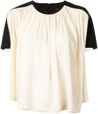 Proenza Schouler Contrast Panel Draped Blouse