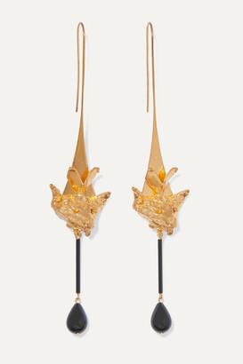 Valentino Garavani Gold-tone And Bead Earrings - Black