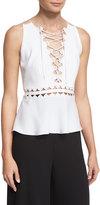 Jonathan Simkhai Sleeveless Lace-Up Top w/ Cutouts, White