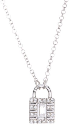 Ef Collection 14K White Gold White Topaz & Pave Diamond Lock Pendant Necklace