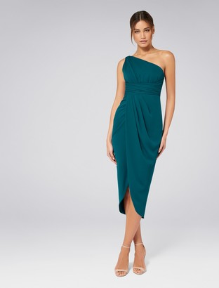 Forever New Mandy One-Shoulder Drape Maxi Dress - Teal Oasis - 4