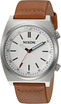 Nixon Men's Brigade Stainless Steel Japanese-Quartz Watch with Leather-Synthetic Strap Brown 21 (Model: A11782728)