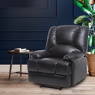 Red Barrel Studio Amirali Faux Leather Manual No Motion Recliner with Massage and Heating Fabric: Black Faux Leather