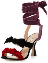 Attico Diletta Velvet Bow Ankle-Wrap Sandal, Multi