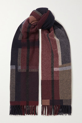HOLZWEILER + Net Sustain Tableau Fringed Checked Wool And Cashmere-blend Scarf - Navy