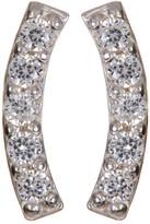 Candela 10K White Gold CZ Curve Bar Stud Earrings