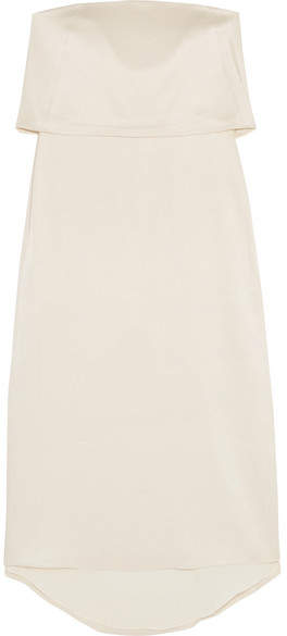 Halston Tiered Satin Midi Dress - Cream