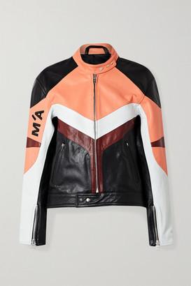 Marques Almeida Appliqued Paneled Leather Biker Jacket - Black