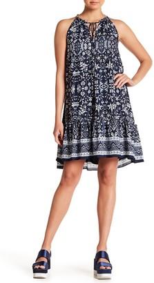 Max Studio Chiffon Printed Split Collar Dress