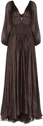 Maria Lucia Hohan Zeena V-neck metallic flared gown