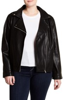 Blu Pepper Faux Leather Moto Jacket (Plus Size)