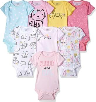 Onesies baby girls 8-Pack Short Sleeve Printed Bodysuits Shirt