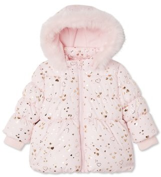George Baby Toddler Girl Faux Fur Hooded Puffer Winter Jacket Coat