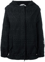 No.21 perforated design hooded jacket - women - Cotton/Polyester - 38