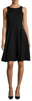 Armani Collezioni Textured And Embroidered Flare Dress