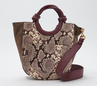 THACKER Convertible Snake Embossed Leather Tote - Claire