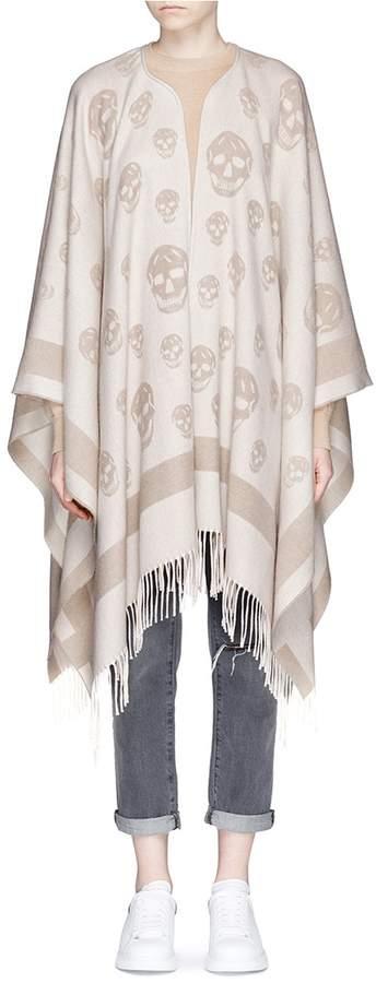 Alexander McQueen Skull jacquard wool-cashmere knit cape