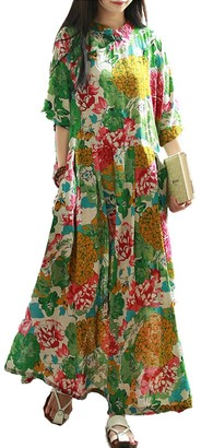 LZJN Women Floral Chi-Pao Dress Casual Loose Half Sleeve Chinese Traditional Frogs Green