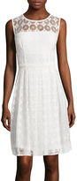 London Times London Style Collection Sleeveless Daisy Dot Lace Fit-and-Flare Dress