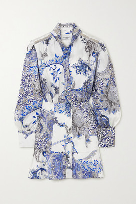 Raquel Diniz Marella Printed Silk-satin Mini Dress - Blue