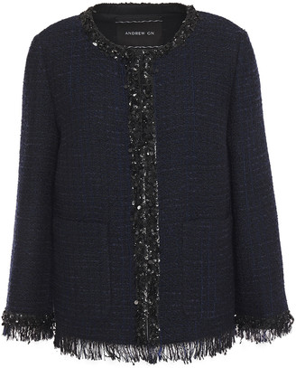 Andrew Gn Embellished Fringed Wool-blend Tweed Blazer