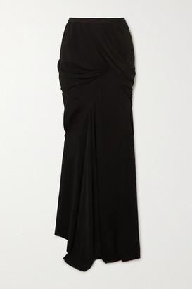 Rick Owens Seb Draped Stretch-crepe Maxi Skirt - Black