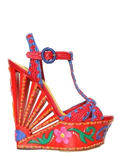 Dolce & Gabbana 170mm Woven Raffia Wedges