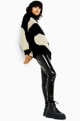 Topshop Womens Petite Black Vinyl Leggings - Black