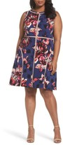 Adrianna Papell Plus Size Women's Spliced Floral Print Jersey Dress