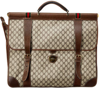 Gucci Brown Gg Supreme Canvas & Leather Garment Bag