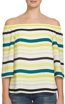 1 State Off-the-Shoulder Striped Blouse