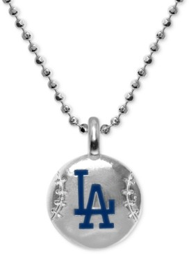 "Alex Woo Los Angeles Dodgers 16"" Pendant Necklace in Sterling Silver"