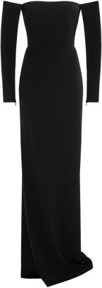 Alex Perry Delaine Satin-Crepe Off-The-Shoulder Column Gown