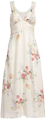 LoveShackFancy Sabina Floral Silk Slip Dress