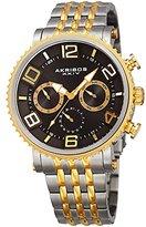 Akribos XXIV Men's Quartz Multi-Function Gold-Tone Accented Dark Gray Sunray Dial on Two-Tone Stainless Steel Bracelet Watch AK917TTG