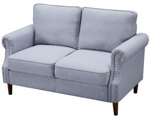 """Thumbnail for your product : Alcott Hill Bresnahan 55.9"""" Linen Round Arm Loveseat Fabric: Light Gray Linen"""