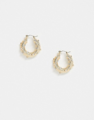 Asos Design DESIGN hoop earrings in crystal and pearl studded texture in gold tone