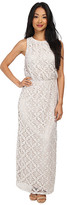 London Times Crochet Blouson Maxi Dress