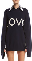 Michael Kors Love Oversized Crewneck Sweater, Navy