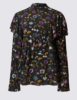 Marks and Spencer Printed Ruffle Front Long Sleeve Blouse
